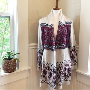 Bohemian Open Front Cardigan With Tassels M